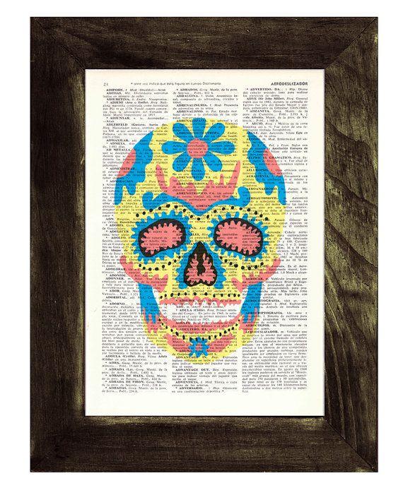 Sugar skull wall art   Mexican Skull book print  Dia de by PRRINT, $7.99