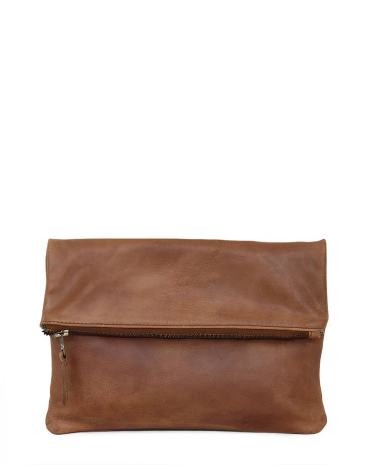 Fold-Over Clutch, Waxy Tan, Jinger Jack, Cape Town, Leather, 100% Leather