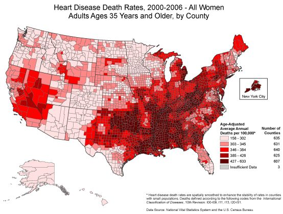 """Heart Disease Death Rates for Women Ages 35 Years+ From 2000-2006. Heart disease is the leading cause of death for women in the United States. Although heart disease is sometimes thought of as a """"man's disease,"""" around the same number of women and men die each year of heart disease in the United States. Unfortunately, 36% of women did not perceive themselves to be at risk for heart disease in a 2005 survey."""