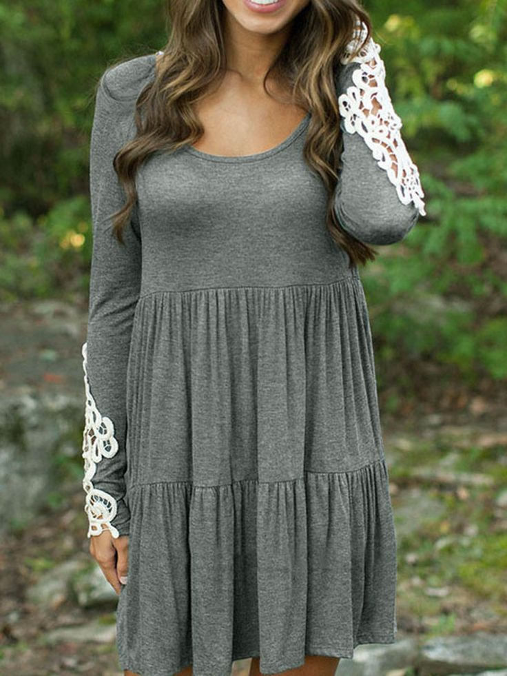 Gray Long Sleeve Crochet Lace Detail Babydoll Dress