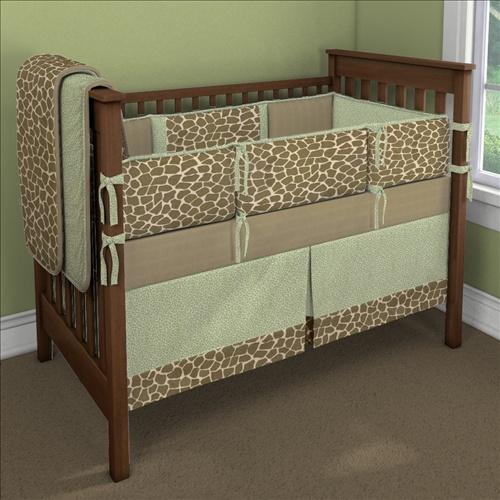 Minky Giraffe with Green Leopard Custom 4-piece Crib Bedding Set | Minky Giraffe with Green Leopard Nursery Idea | Carousel Designs