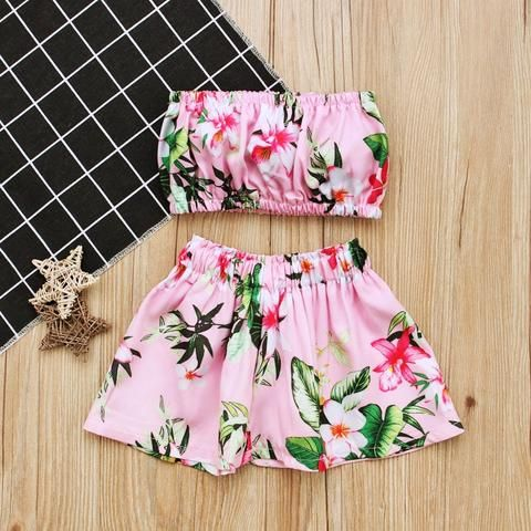 Floral Tube Top Mini A Line Skirt Two Piece Set RI – deevybuy 2