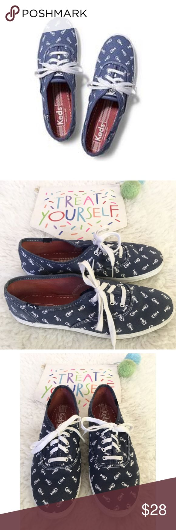 Keds Champion Lobster Denim Color Sneakers Shoes Still in good condition are here Cute Denim color sneakers from Keds in size 9.5. Cute lobster print on them. No major flaws except some marks on the back of the right side of the right shoes. Nothing too noticeable. Normal wears to the soles. ❌No trades or modeling. Always open to reasonable offers. Bundle more items to save on more. Thank you‼️ Keds Shoes Sneakers