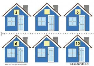 CITOvaardigheden voor kleuters, Welk nummer heeft het huisje in de straat even nrs 1, kleuteridee.nl , What number is the house in the street, free printable