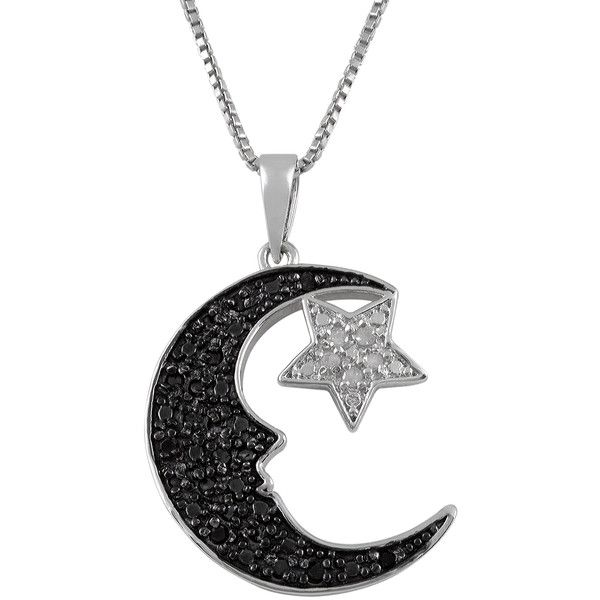 Jewel Exclusive Sterling Silver  Black and White Diamond Moon and Star... ($50) ❤ liked on Polyvore featuring jewelry, necklaces, accessories, jewels, multi, diamond jewelry, sterling silver pendant, chain jewelry, diamond star pendant and star jewelry
