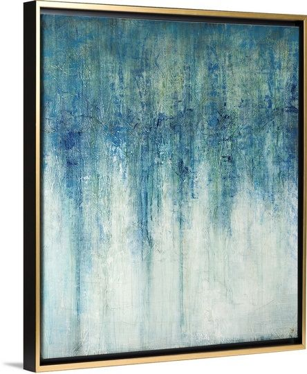 opal blue abstract canvas print with the gold floating frame by joshua schicker via