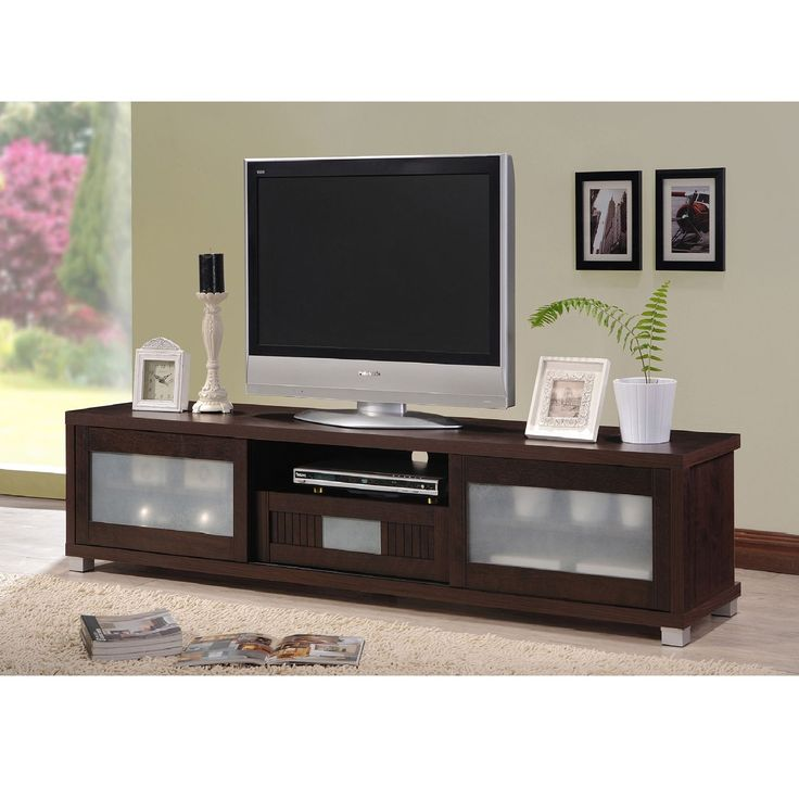 Baxton Studio Temple Contemporary Dark Brown Wood 70-inch TV Cabinet with 2 Sliding Doors and 1 Drawer (TV Stand-Wenge Brown)