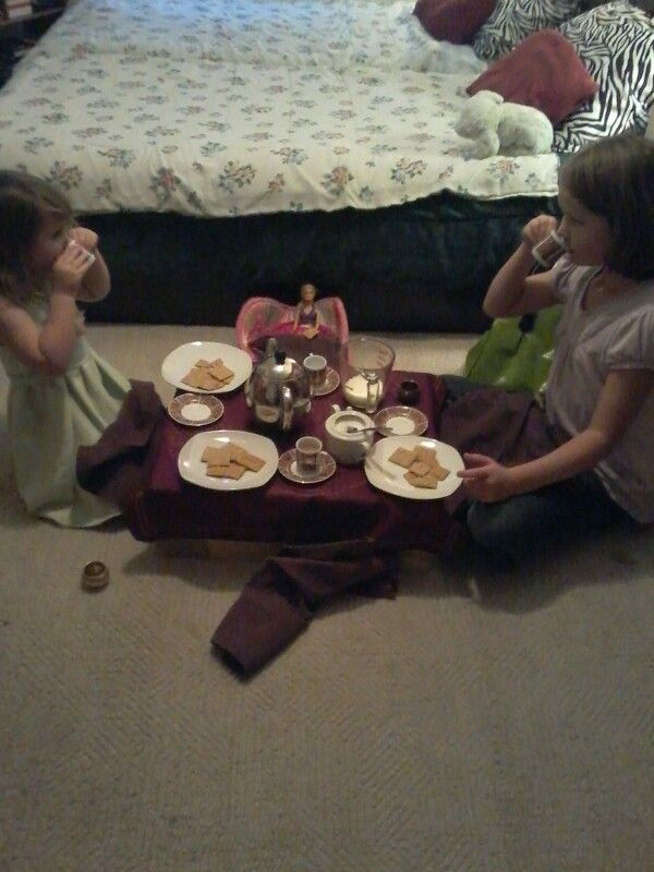 Me and my sisters having a tea party