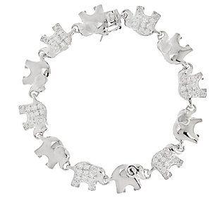 Diamonique Polished and Pave' Elephant Bracelet, Sterling