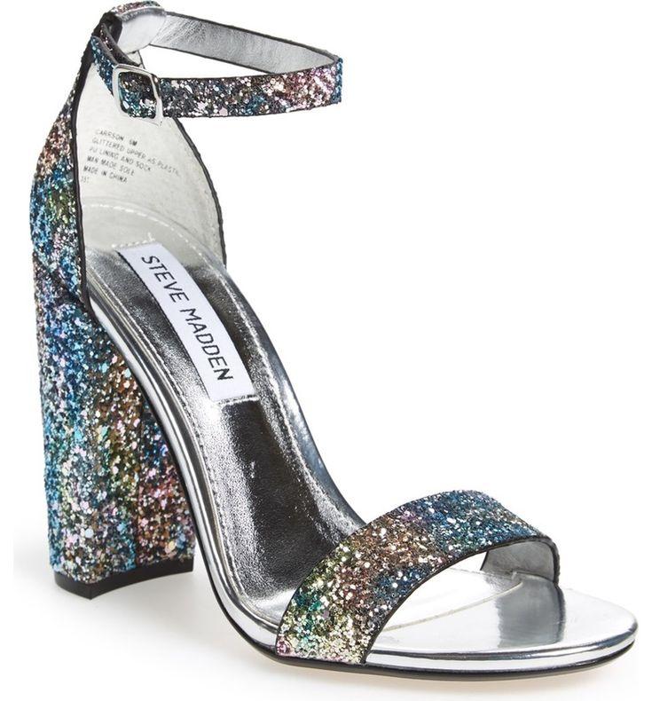 Steve Madden Carrson Sandal Silver Glitter Block Heeled Sandal (Women)| Best Prom 2017 Shoes for every dress