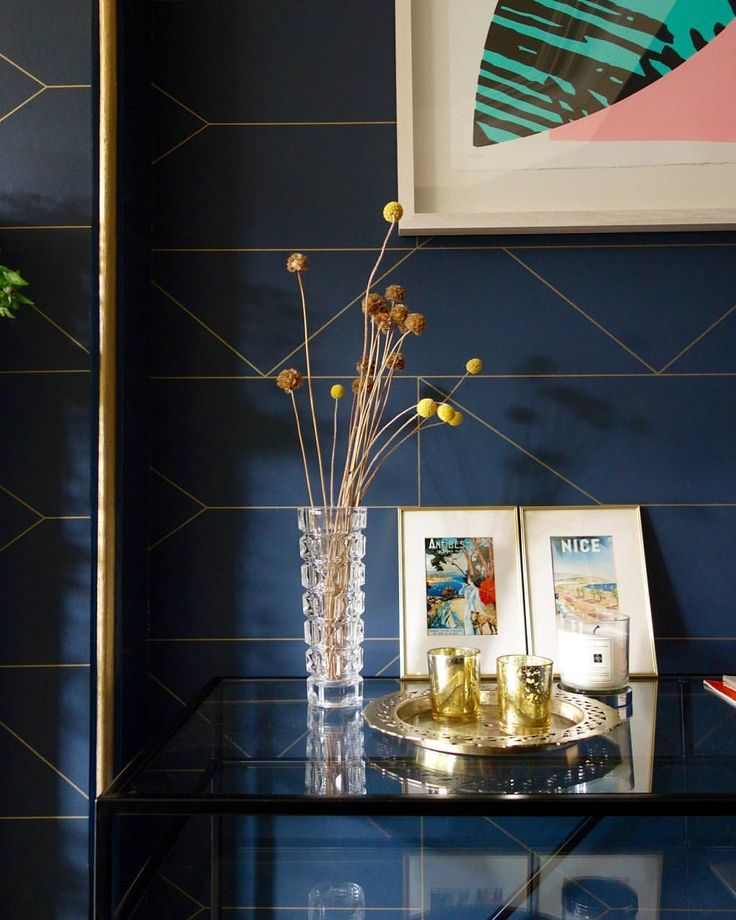 Interior styling.  The Drawing Room project with Ferm Living's Lines wallpaper and gold edging.   Eclectic, glam interior design