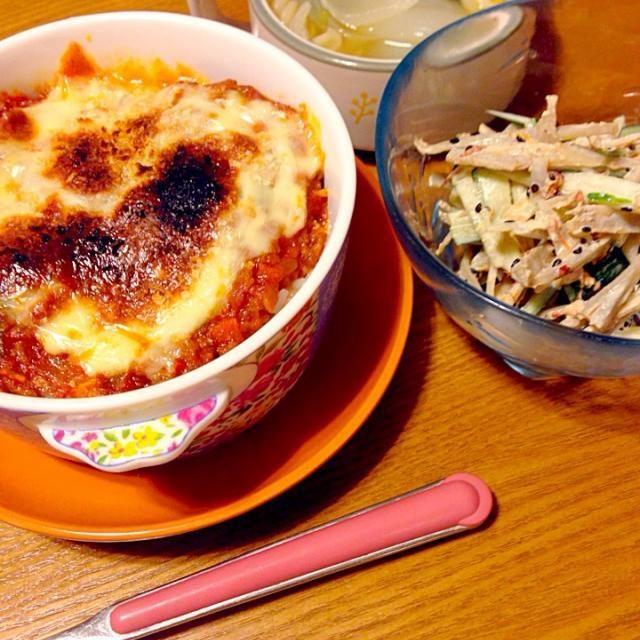 適当に載せたパン粉がハート型に焼けてた✨✨✨ - 13件のもぐもぐ - ミートドリア♡ゴボウサラダ♡新玉ねぎスープ by sakutae