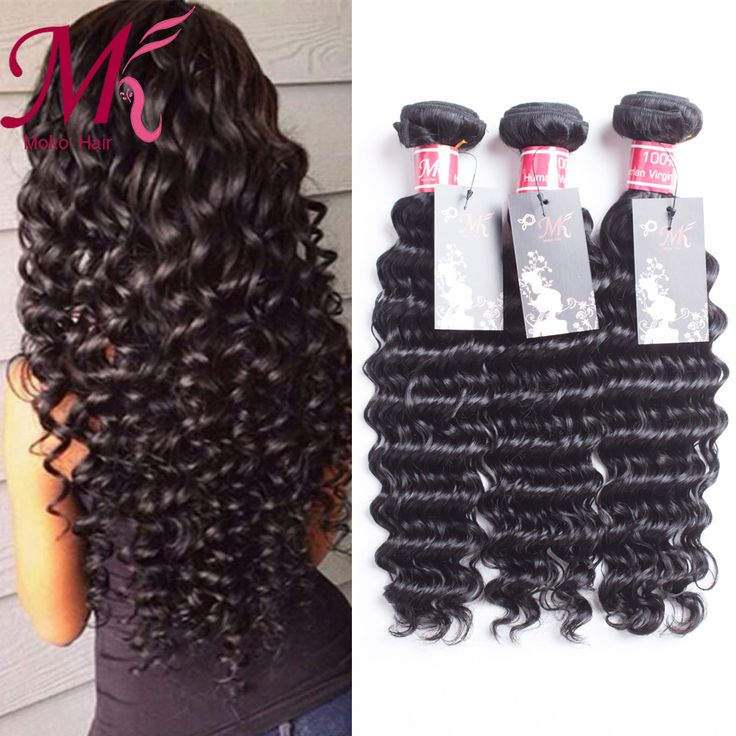 Бразильский Девственные Волосы Глубокая Волна 3 Пучки Человеческих Волос Глубоко вьющиеся волосы девственные Глубокая Волна Бразильских волос Дешево Бразильски�