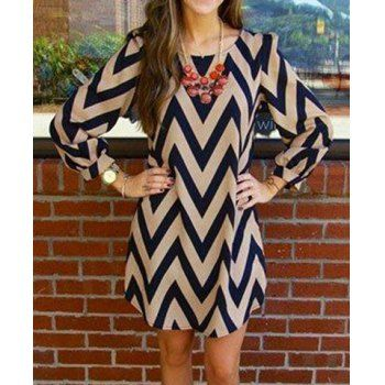 Fashionable Color Block Zigzag Printed Dress For Women (AS THE PICTURE,M) in Casual Dresses | DressLily.com