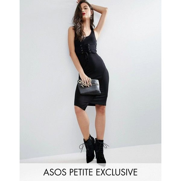 ASOS PETITE Bodycon Dress with Corset Waist ($23) ❤ liked on Polyvore featuring dresses, black, petite, petite short dresses, asos dresses, petite dresses, front lace corset and short bodycon dresses