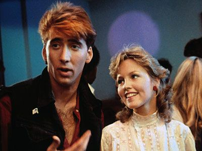 Nice hair, baby-cage. VALLEY GIRL (1983) Radical Randy (Cage) and Valley Girl Julie (Deborah Foreman)