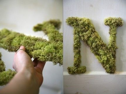 "theweddingfile: "" Letter N Custom Moss Door Hanging Initial by SimpleSweetDesign """