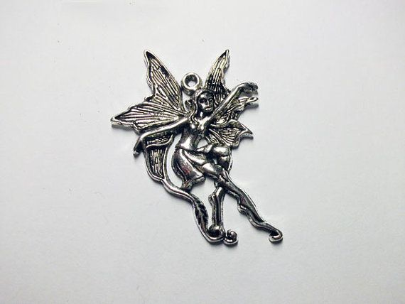 CLEARANCE Antique silver fairy charm by rabbitssupplies on Etsy