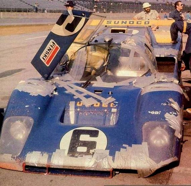 1971 Daytona 24 Hr. .. entered by Penske-White racing (US) , Ferrari 512M , driven by M.Donohue / D.Hobbs , finished 3rd o/a . (Could be named the Duct Tape Special)
