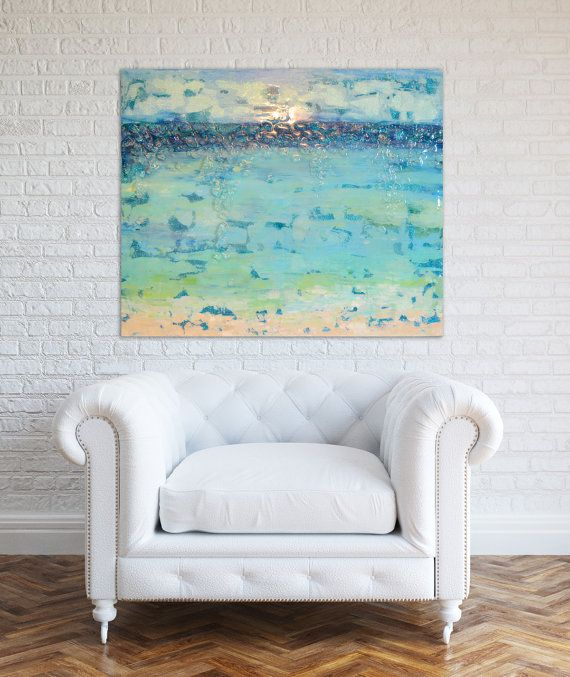 """Sold! Acrylic Beach Abstract Art Large Canvas Painting Blue, Green,Turquoise, Ombre Glitter with Glass and Resin Coat 24"""" x 30"""""""