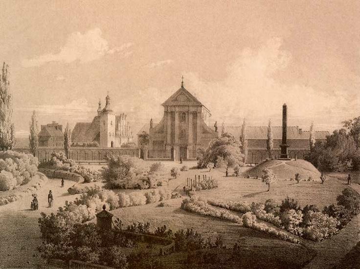 Plac Litewski; Kościół wizytek, kościół Kapucynów i pomnik Unii Lubelskiej ok. 1860 roku, litografia Adama Lerue.