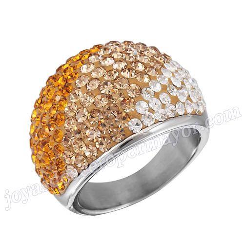 Material: Acero Inoxidable   Nombre:Anillo plateado de compromiso de acero de forma circular con diamante de corlores mixtos   Model No.:SSRG185   Peso:12.5G