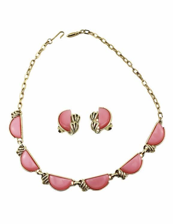 Coro Moonglow Pink and Gold Necklace and Earring Set
