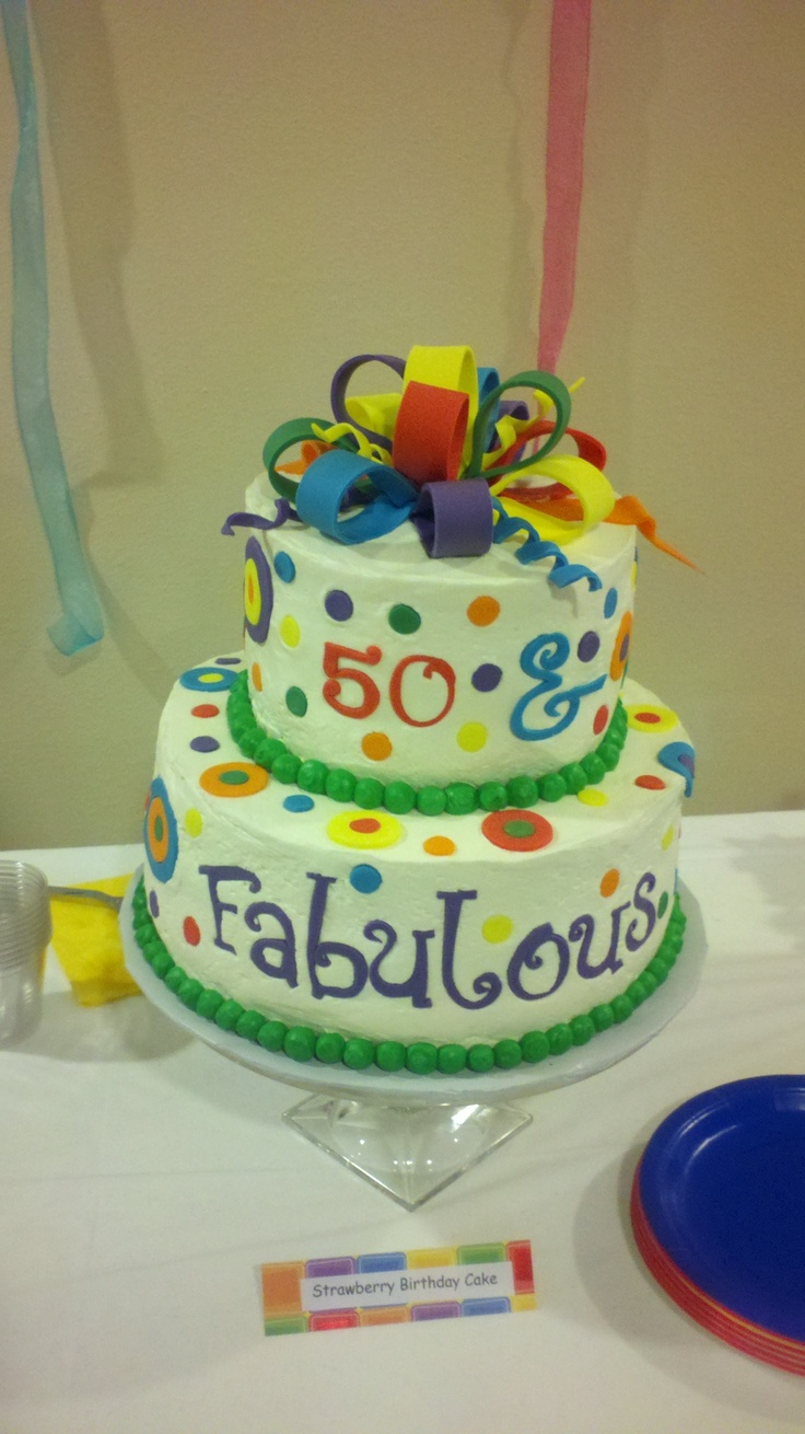 50 & Fabulous Cake - Strawberry cake with vanilla bc icing and fondant bow and polka dots.   I made this one for my mom's best friends 50th birthday surprise party!
