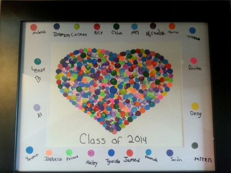 Teacher end of year gift from her class. Fingerprint Heart.