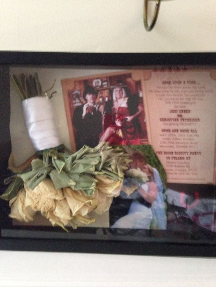 Invitation, bouquet, party favor (coaster) and one of the wedding pics in a shadow box