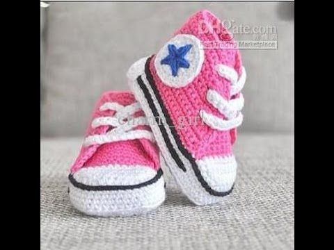 Crochet Tutorial - How to crochet Baby Converse Booties - Shoes/Booties/Slippers Crochet - YouTube