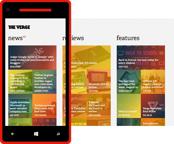 The Verge for Windows Phone, II by Conner Monsees, via Behance