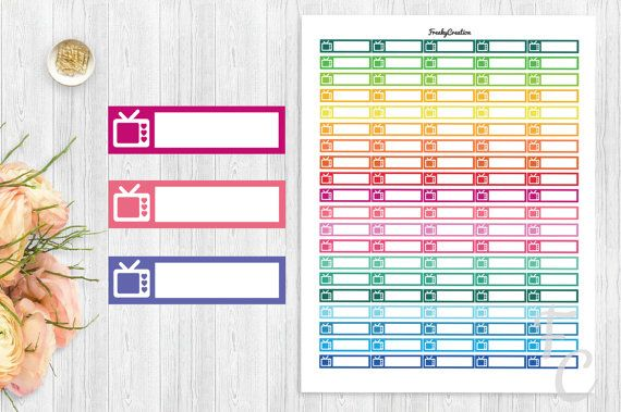 Printable Movie Stickers/TV Planner by freakycreation on Etsy