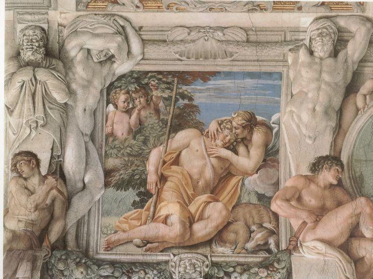 Beautiful painting, even the sculptures and frame are painted Annibale Carracci - Farnese Gallery Diana and Endymion