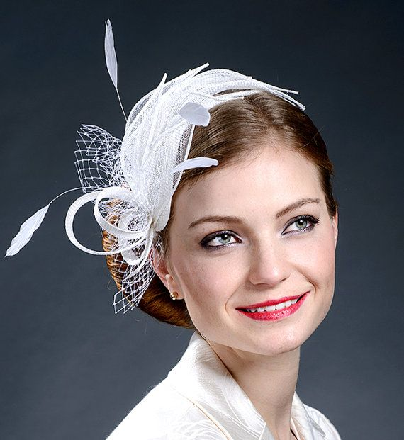 White fascinator hat for brides weddings Ascot by MargeIilane