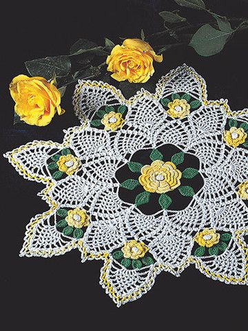 """The ever-popular Yellow Rose of Texas is now a beautiful doily! It is stitched using 200 yds of white, 100 yds of shaded light yellow and 50 yds of hunter green size 10 crochet cotton. Finished measurements: 16"""" in diameter. http://www.maggiescrochet.com/collections/new/products/yellow-rose-of-texas"""