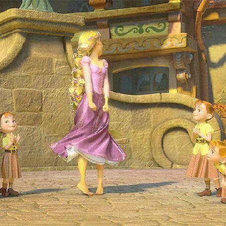 Рапунцель танцует перед детьми, мультфильм Tangled / Рапунцель: Запутанная история