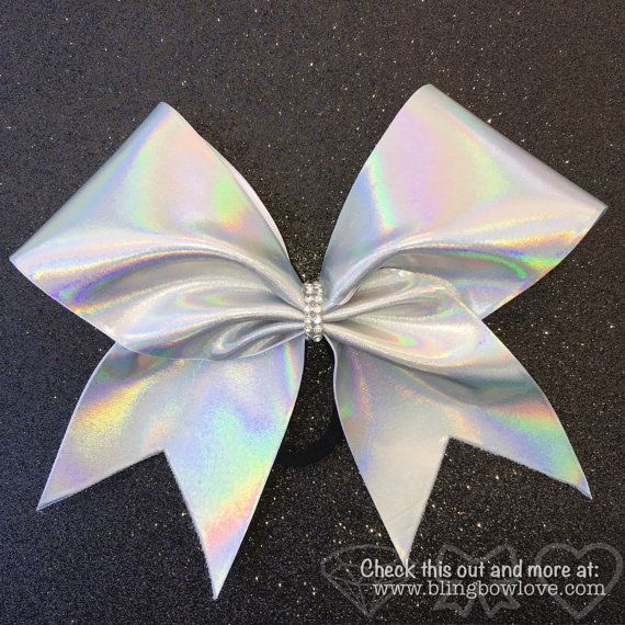 Holographic Silver Cheer Bow // Holo Cheer Bow // by BlingBowLove