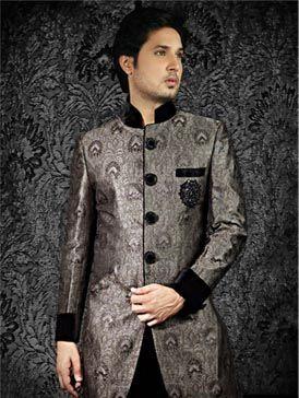 Black and silver Sherwani