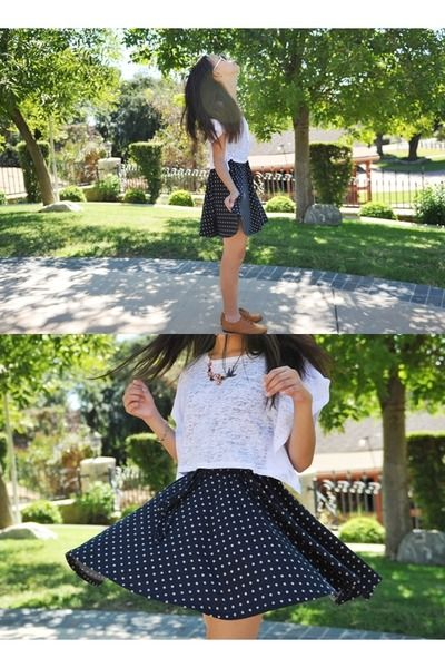 Polka dots plate skirt +white top via www.chictopia.com