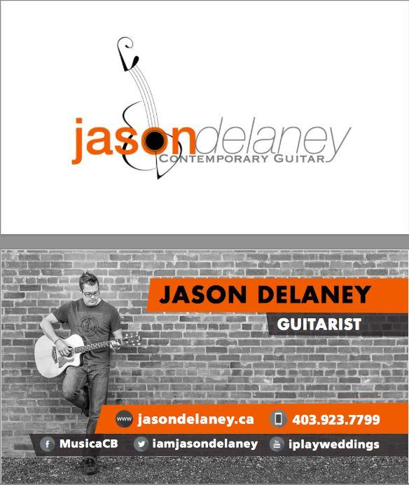 Business card draft and new logo design for local Calgary Professional Guitarist Jason Delaney http://musicaconbrio.com
