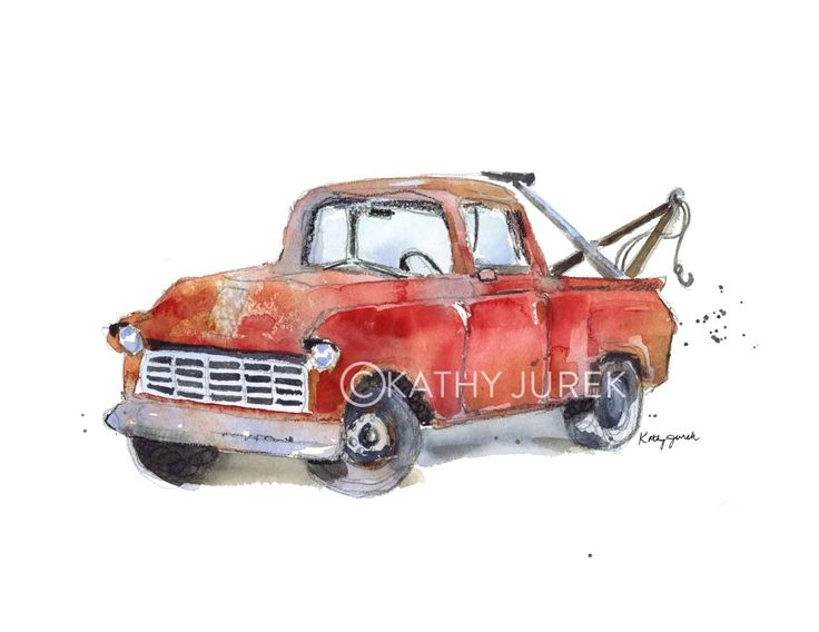Red Tow Truck Art Print