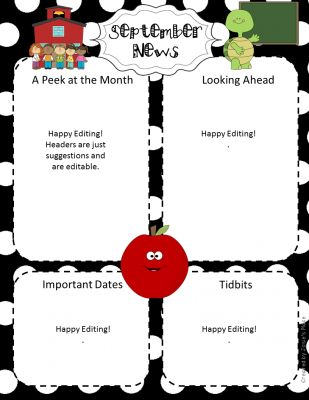 FREE  EDITABLE SEPTEMBER MONTHLY NEWSLETTER SAMPLE NEWSLETTER from Josie's Place on TeachersNotebook.com -  (3 pages)  - FREE SEPTEMBER NEWSLETTER SAMPLE!