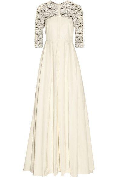 Lela Rose   Lace-paneled poplin gown   NET-A-PORTER.COM