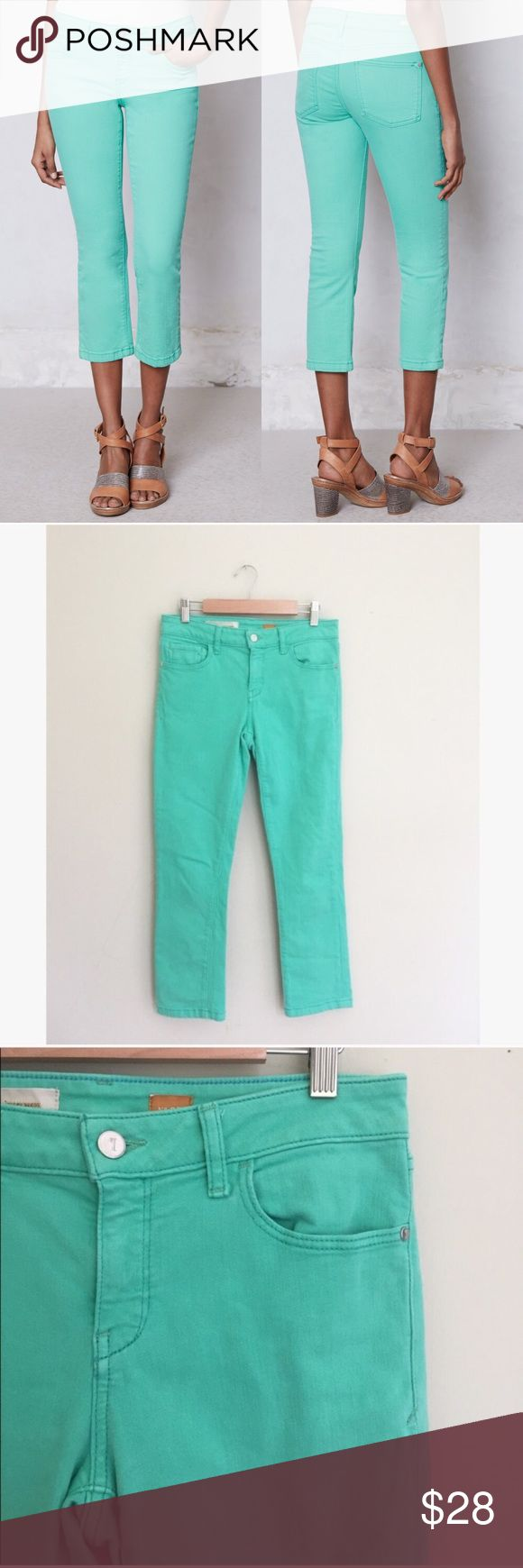 "Anthropologie Pilcro Stet Cropped Aqua Jeans Pilcro Stet Cropped Jeans In Aqua green from Anthropologie. Bright and stretchy, these beauties are perfect with stripes or polka dots. Color is accurate in the second photo. Gently worn near the pockets from washing, no holes or stains. Size 27.   Approximately 25"" inseam, 8.5"" rise, 6"" wide ankle, 28"" waist, 32"" hips.   No trades, offers welcome! Anthropologie Jeans Ankle & Cropped"
