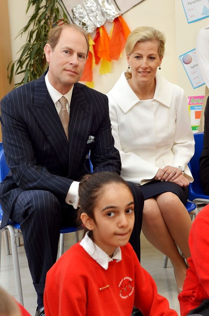 thebritishnobility:  Prince Edward, Earl of Wessex and the Sophie, Countess of Wessex during an official visit on the Earl's 50th Birthday to Robert Browning Primary School in Walworth to see the work of youth charity Kidscape, recipients of grants from the Wessex Youth Trust, on March 10, 2014 in London, United Kingdom.