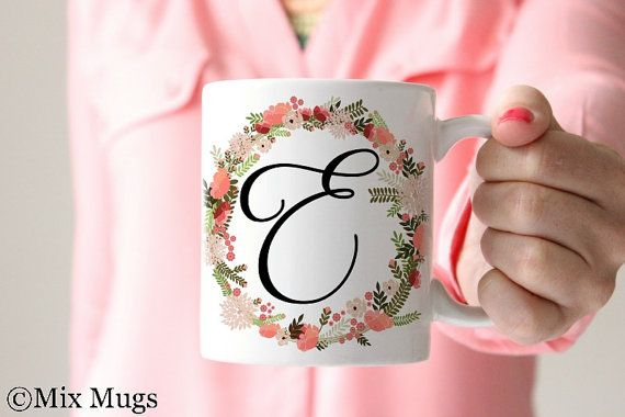 Monogram Coffee Mugs, Personalized Coffee Mugs, Custom Name Mugs, Monogrammed Gifts, Coffee Mugs for Her, Monogram Gifts for Her (P211)
