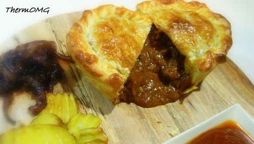Best Ever Beef Pie —  2 onions peeled and halved 2 garlic cloves 20g oil 30g balsamic vinegar 1 heaped tsp cumin powder 1 heaped tsp smoked paprika 1kg Gravy Beef diced 80g tomato paste 40g plain flour 50g Worcestershire sauce 30g balsamic vinegar 1 beef stock cube (or 1tbsp TMX Veg Stock) 200g water Salt and pepper to taste