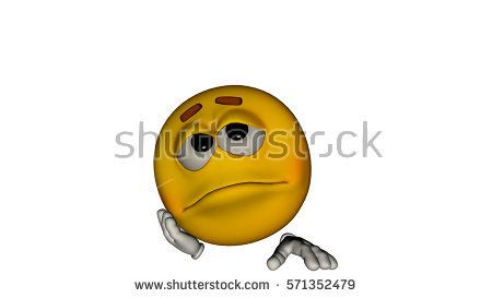 one yellow smile guy with the face. Sad. 3D rendering, 3D illustration