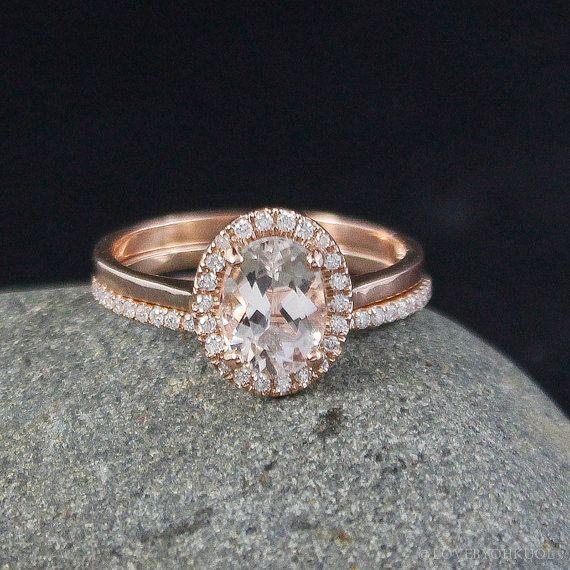 halo pink morganite engagement ring wedding band set half eternity micro pave diamond band - Engagement Rings With Wedding Band Set